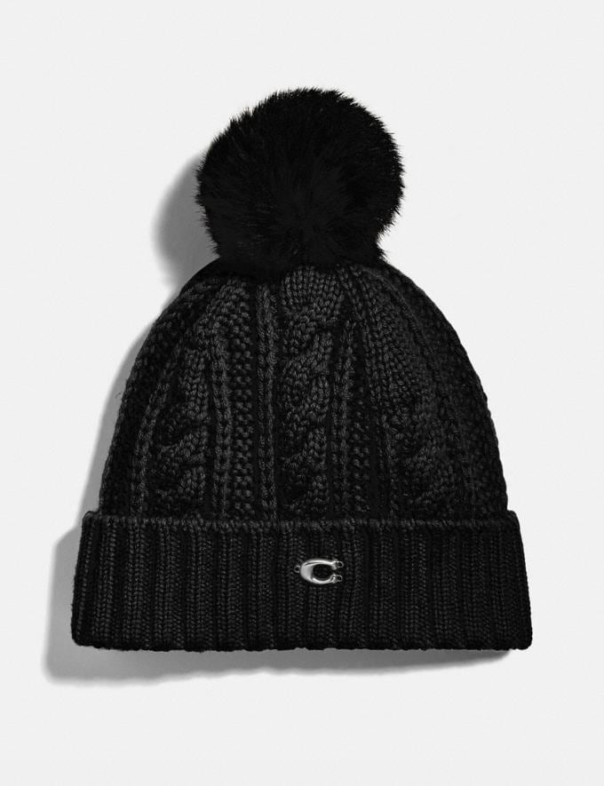 Coach Knit Hat With Shearling Pom Pom Black Women Accessories Scarves and Gloves