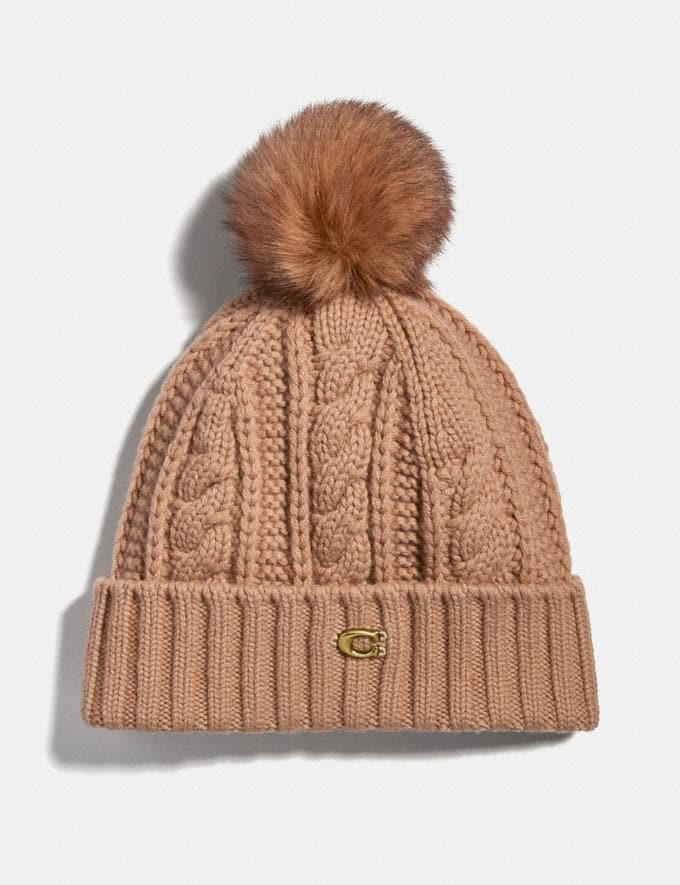 Coach Knit Hat With Shearling Pom Pom Camel Women Accessories Scarves and Gloves