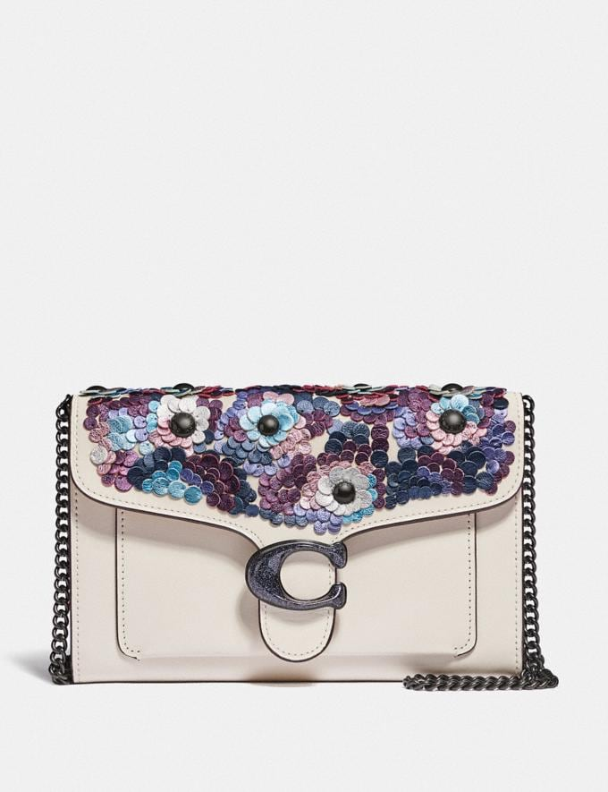 Coach Tabby Chain Clutch With Leather Sequins Pewter/Chalk Women Handbags Crossbody Bags