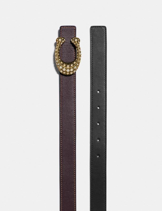 Coach Signature Buckle Reversible Belt, 25mm Brass/Black/Oxblood Women Accessories Belts Alternate View 1
