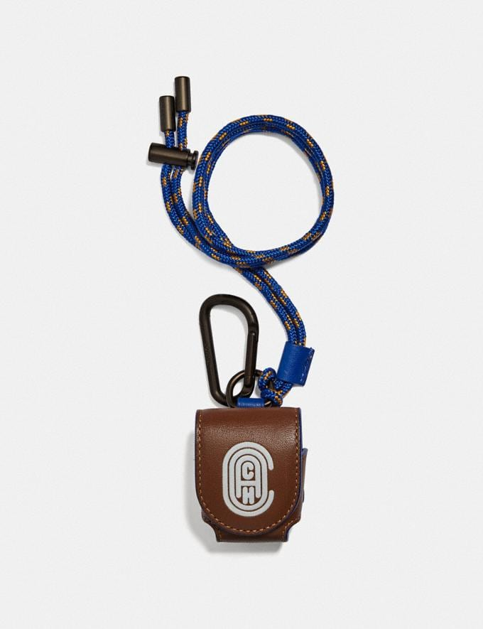Coach Wireless Earbud Case With Reflective Coach Patch Saddle/Sport Blue Men Accessories Bag Accessories & Keyholders