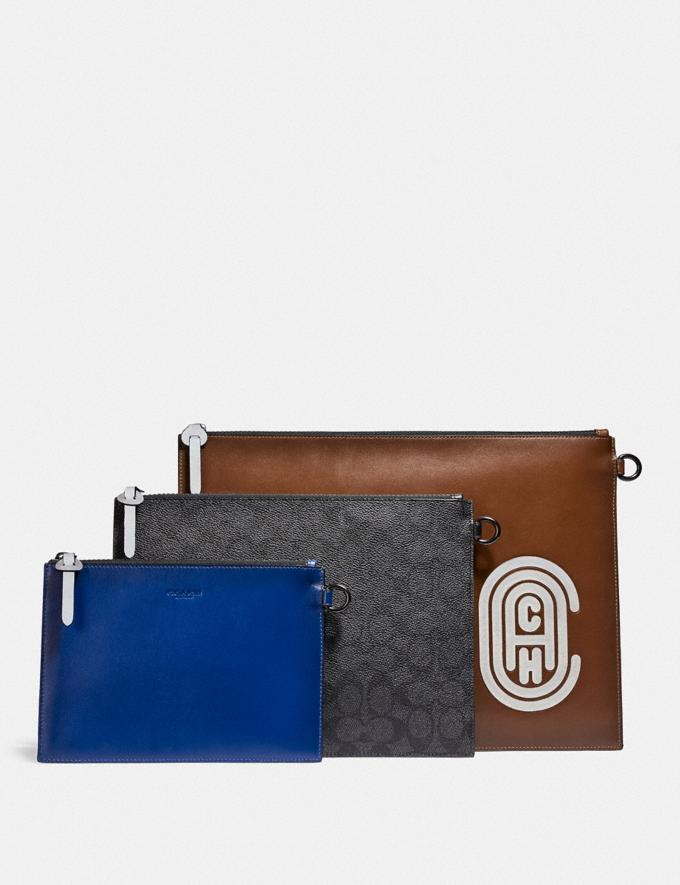 Coach Triple Pouch in Signature Canvas With Reflective Coach Patch Sport Blue/Silver Cyber Monday Men's Cyber Monday Sale Accessories