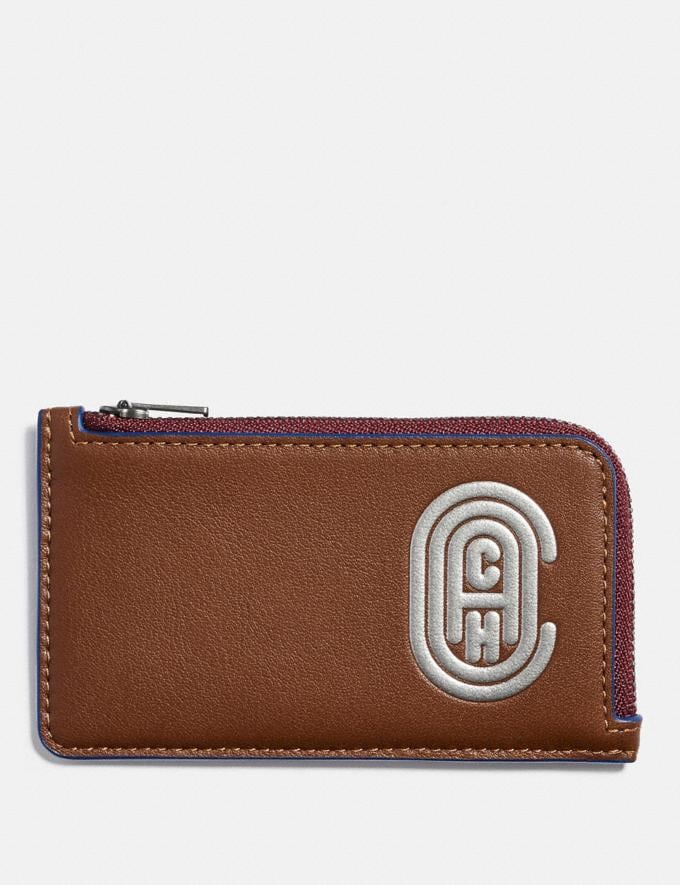Coach L-Zip Card Case With Reflective Coach Patch Saddle/Sport Blue New Men's New Arrivals Wallets