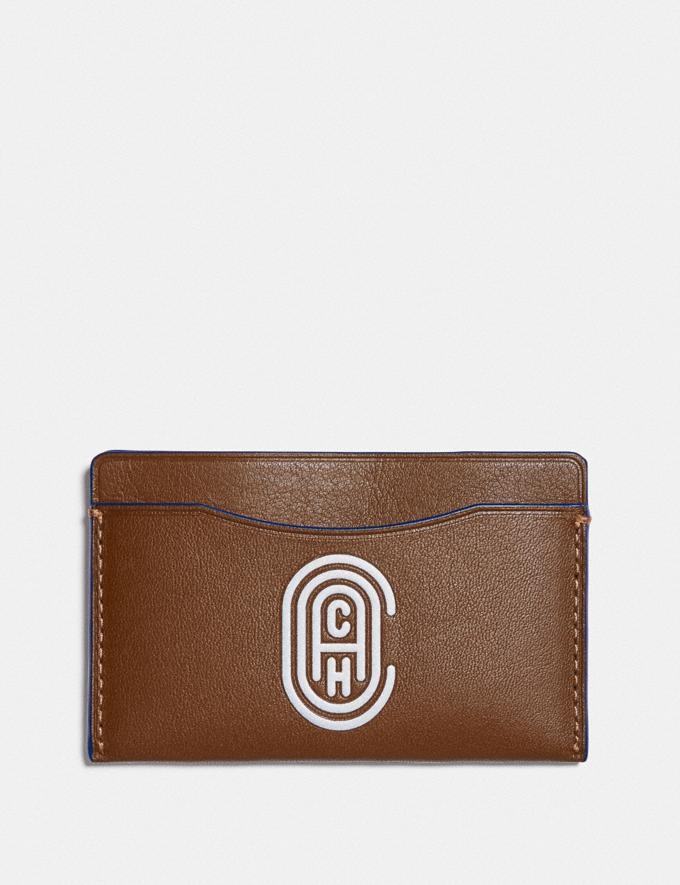 Coach Small Card Case With Coach Patch Saddle/Sport Blue New Men's New Arrivals