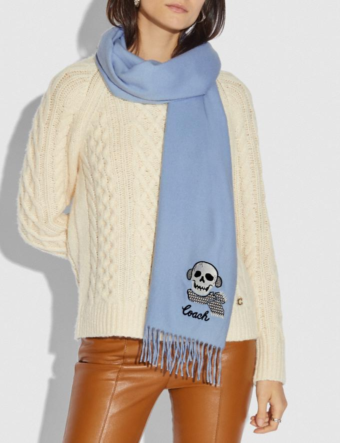 Coach Bonesy Embroidered Muffler Light Blue Women Accessories Scarves Alternate View 1