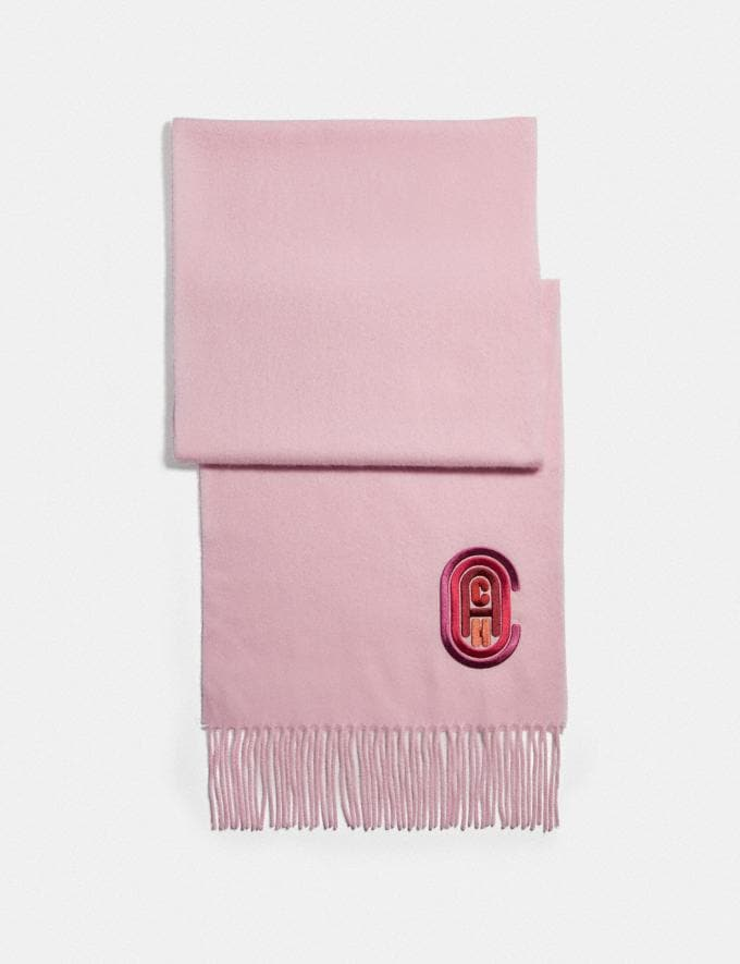 Coach Signature Embroidered Muffler Light Pink Women Accessories Scarves