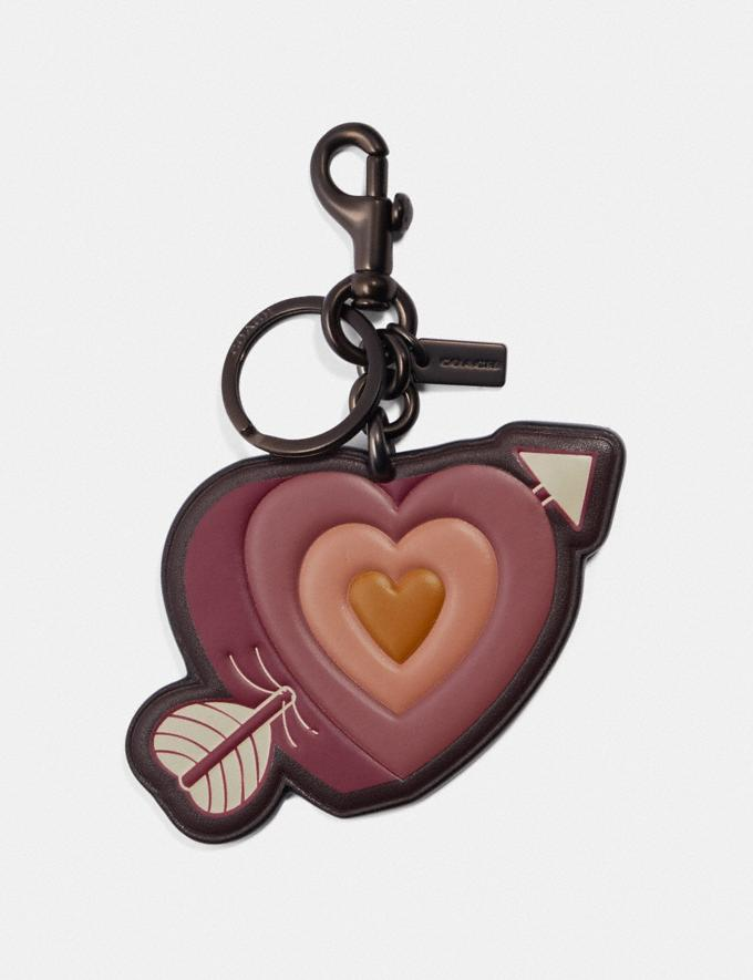 Coach Heart and Arrow Bag Charm Black/Pink Women Accessories Bag Accessories & Keyholders