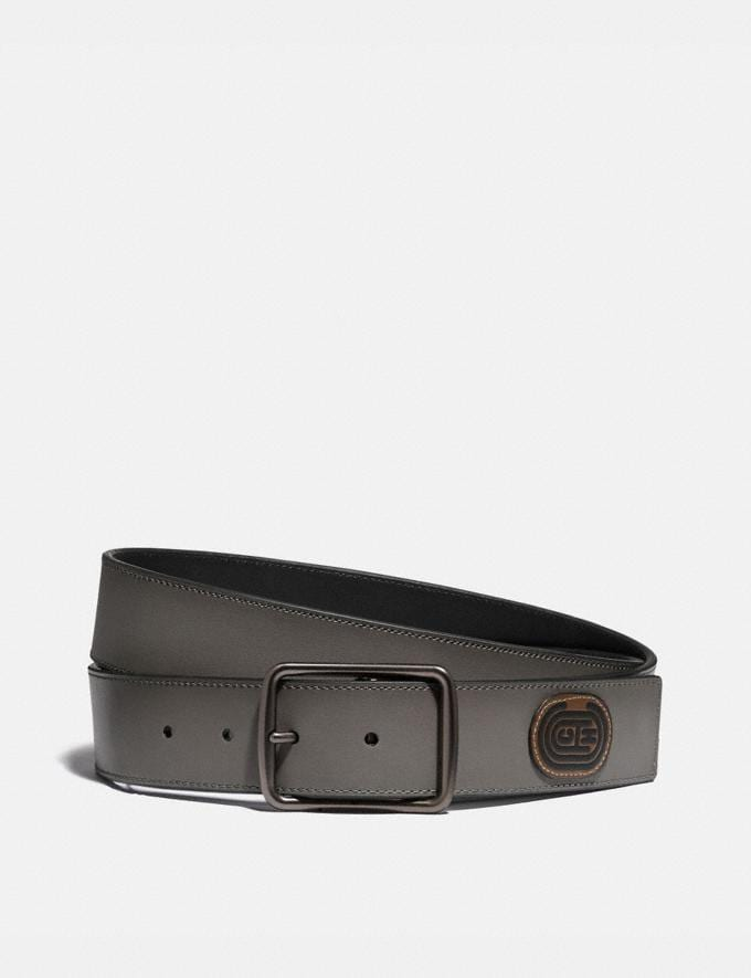 Coach Harness Buckle Cut-To-Size Reversible Belt With Coach Patch, 38mm Grey/Black Men Accessories Belts