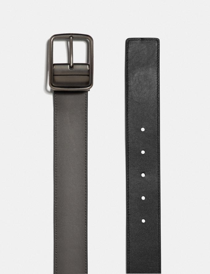 Coach Harness Buckle Cut-To-Size Reversible Belt With Coach Patch, 38mm Grey/Black Men Accessories Belts Alternate View 1