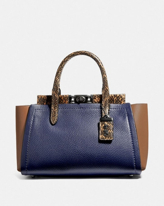 TROUPE CARRYALL IN COLORBLOCK WITH SNAKESKIN DETAIL