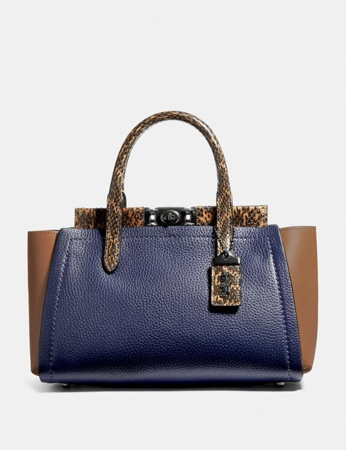 Coach Troupe Carryall in Colorblock With Snakeskin Detail V5/Cadet Multi Women Bags Satchels