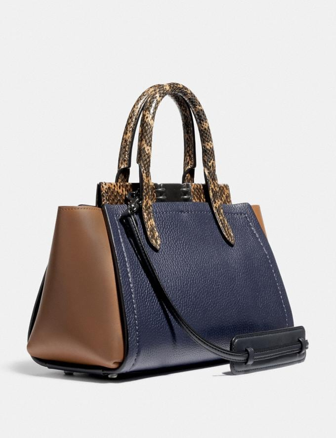 Coach Troupe Carryall in Colorblock With Snakeskin Detail V5/Cadet Multi Women Bags Satchels Alternate View 1