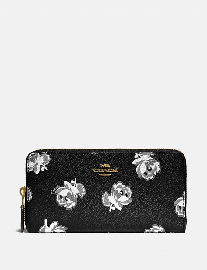 Coach Accordion Zip Wallet With Floral Print Gold/Black Floral Print New Women's New Arrivals Wallets & Wristlets