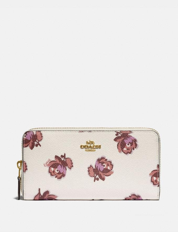 Coach Accordion Zip Wallet With Floral Print Gold/Chalk Floral Print New Women's New Arrivals Wallets & Wristlets