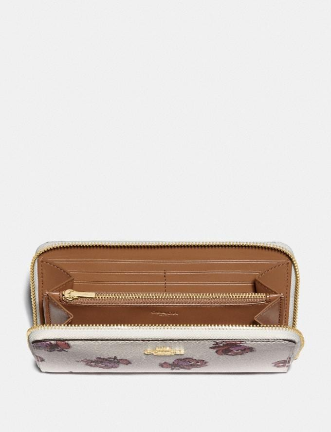 Coach Accordion Zip Wallet With Floral Print Gold/Chalk Floral Print New Women's New Arrivals Wallets & Wristlets Alternate View 1
