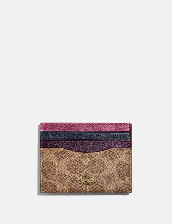 Coach Card Case in Colorblock Signature Canvas B4/Metallic Multi Women Small Leather Goods Card Cases
