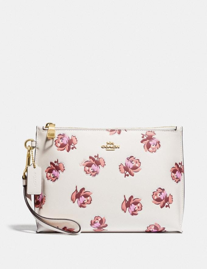 Coach Charlie Pouch With Floral Print Gold/Chalk Floral Print Women Wallets & Wristlets Wristlets