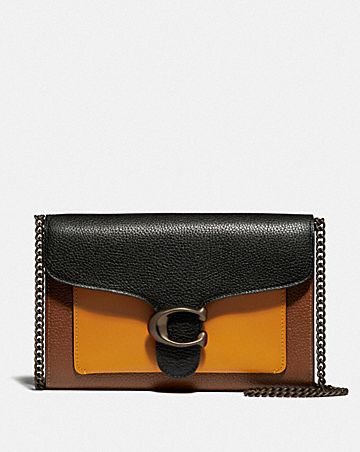 tabby chain clutch in colorblock