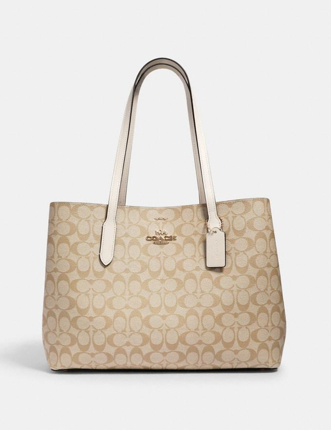 Coach Large Avenue Carryall in Signature Canvas Im/Light Khaki Chalk Women Bags