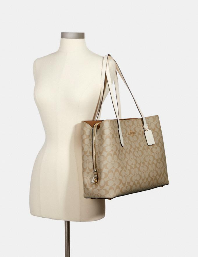 Coach Large Avenue Carryall in Signature Canvas Im/Light Khaki Chalk Women Bags Alternate View 2