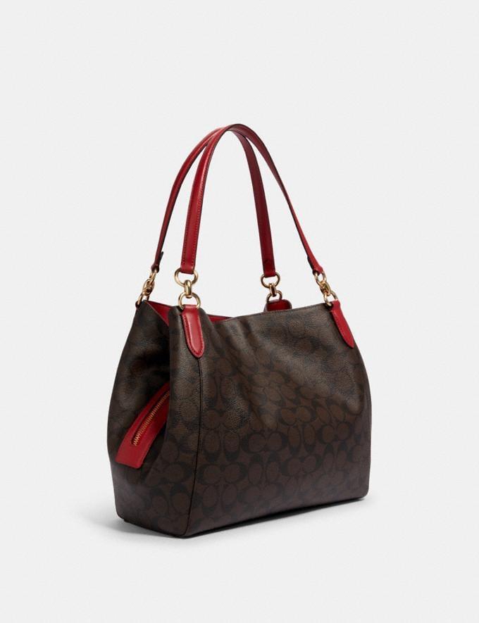 Coach Hallie Shoulder Bag in Signature Canvas Im/Light Khaki Blossom What's New Alternate View 1