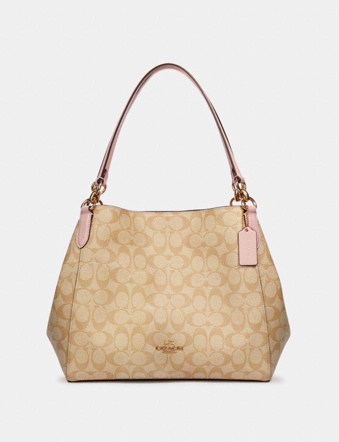 Coach Hallie Shoulder Bag in Signature Canvas Im/Light Khaki Blossom What's New
