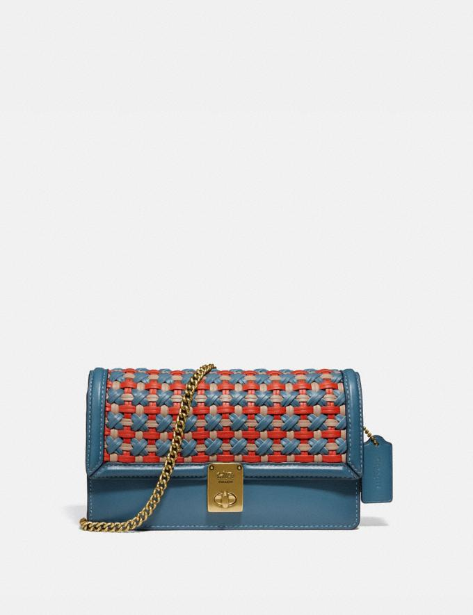 Coach Hutton Clutch With Weaving Brass/Lake Multi Gifts For Her Under $500