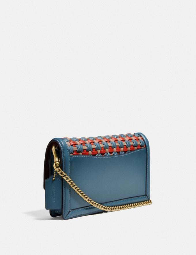 Coach Hutton Clutch With Weaving Brass/Lake Multi Women Handbags Crossbody Bags Alternate View 1