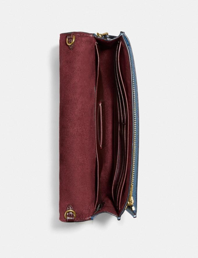 Coach Hutton Clutch With Weaving Brass/Lake Multi Women Handbags Crossbody Bags Alternate View 2