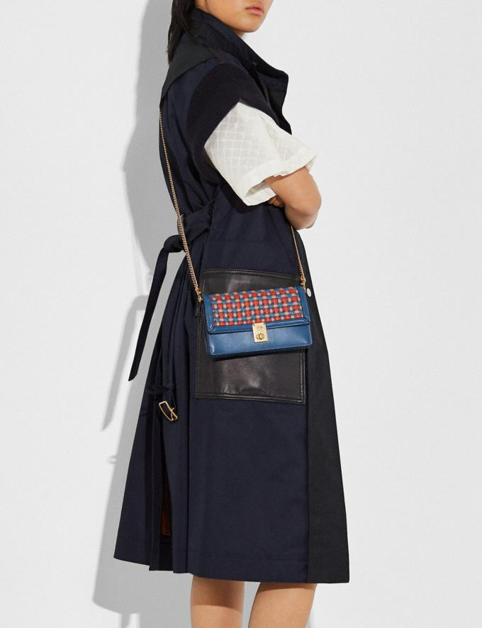 Coach Hutton Clutch With Weaving Brass/Lake Multi Women Handbags Crossbody Bags Alternate View 3