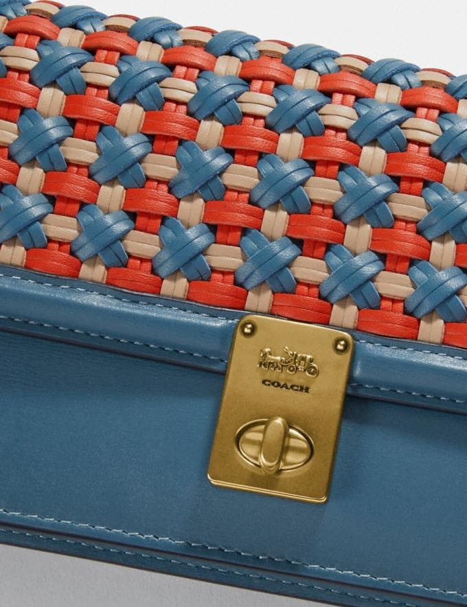 Coach Hutton Clutch With Weaving Brass/Lake Multi Women Handbags Crossbody Bags Alternate View 4