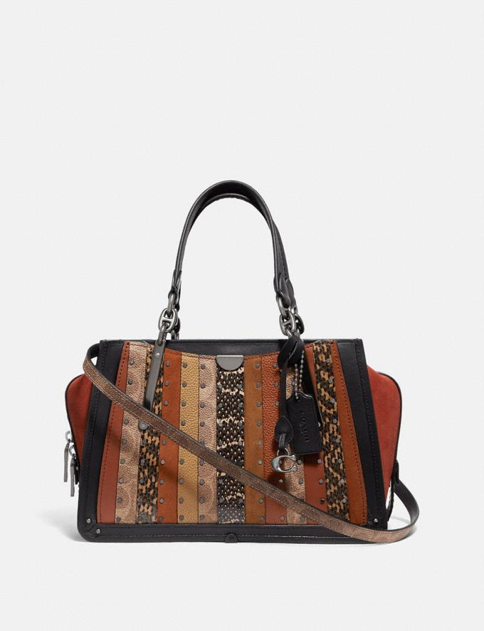 Coach Dreamer With Signature Canvas Patchwork Stripes and Snakeskin Detail Pewter/Tan Black Multi Women Handbags Satchels & Top Handles