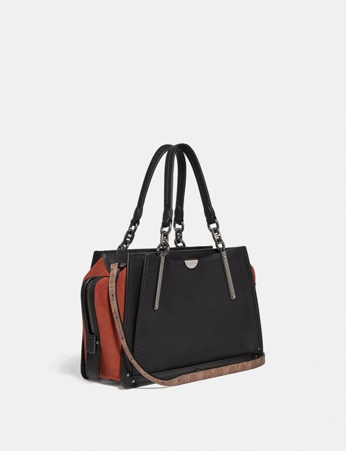 Coach Dreamer With Signature Canvas Patchwork Stripes and Snakeskin Detail Pewter/Tan Black Multi Women Bags Satchels Alternate View 1