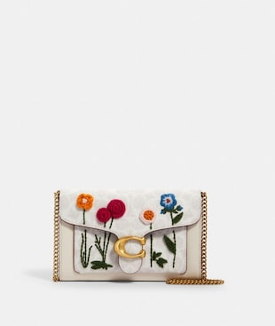 TABBY CHAIN CLUTCH IN SIGNATURE CANVAS WITH FLORAL EMBROIDERY