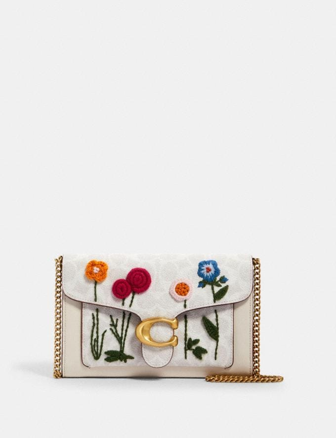 Coach Tabby Chain Clutch in Signature Canvas With Floral Embroidery B4/Chalk Multi Women Handbags Clutches