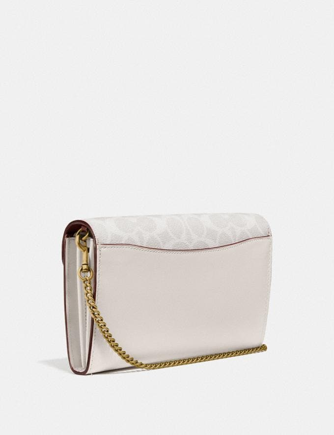 Coach Tabby Chain Clutch in Signature Canvas With Floral Embroidery B4/Chalk Multi Women Handbags Clutches Alternate View 1