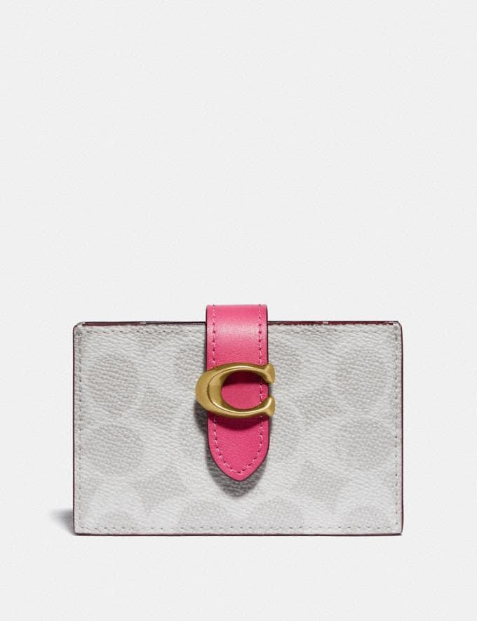 Coach Accordion Card Case in Blocked Signature Canvas B4/Chalk Confetti Pink New Women's New Arrivals