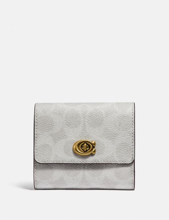 Coach Signature Turnlock Small Wallet in Blocked Signature Canvas B4/Chalk Pollen Women Small Leather Goods Small Wallets