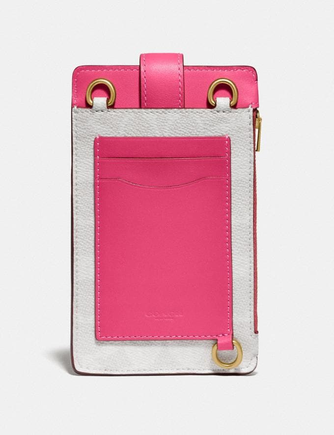 Coach Turnlock Chain Phone Crossbody in Blocked Signature Canvas B4/Chalk Confetti Pink Gifts For Her Alternate View 2