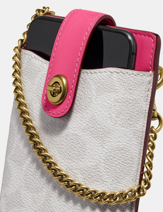 Coach Turnlock Chain Phone Crossbody in Blocked Signature Canvas B4/Chalk Confetti Pink Gifts For Her Alternate View 5