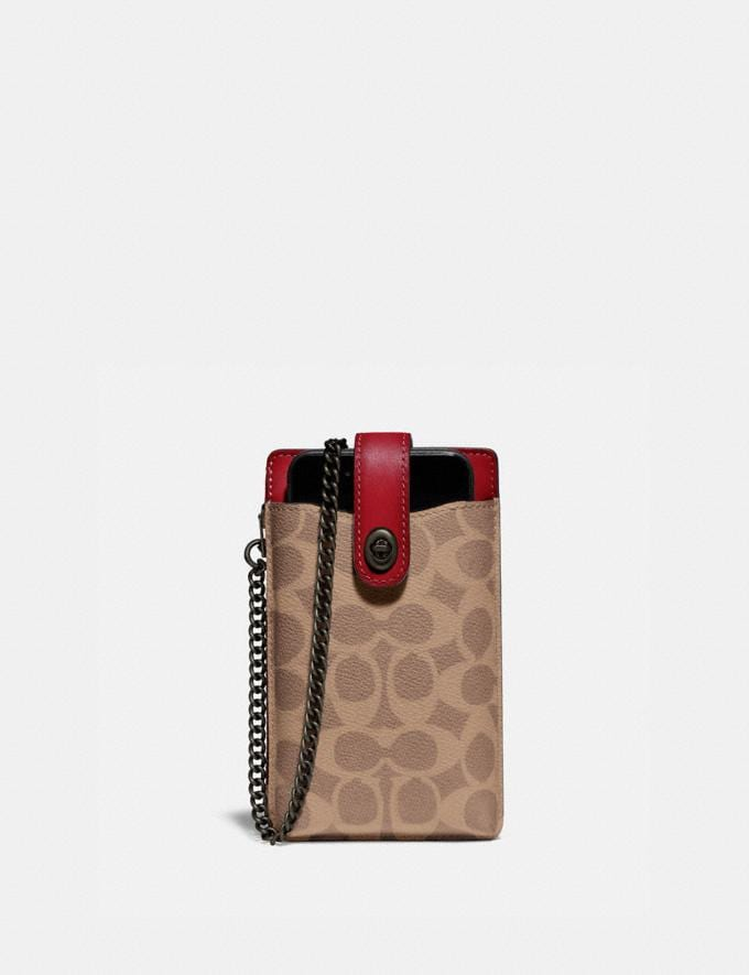 Coach Turnlock Chain Phone Crossbody in Blocked Signature Canvas Pewter/Tan Red Apple Women Collection Signature