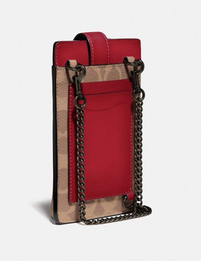 Coach Turnlock Chain Phone Crossbody in Blocked Signature Canvas Pewter/Tan Red Apple Women Bags Crossbody Bags Alternate View 1