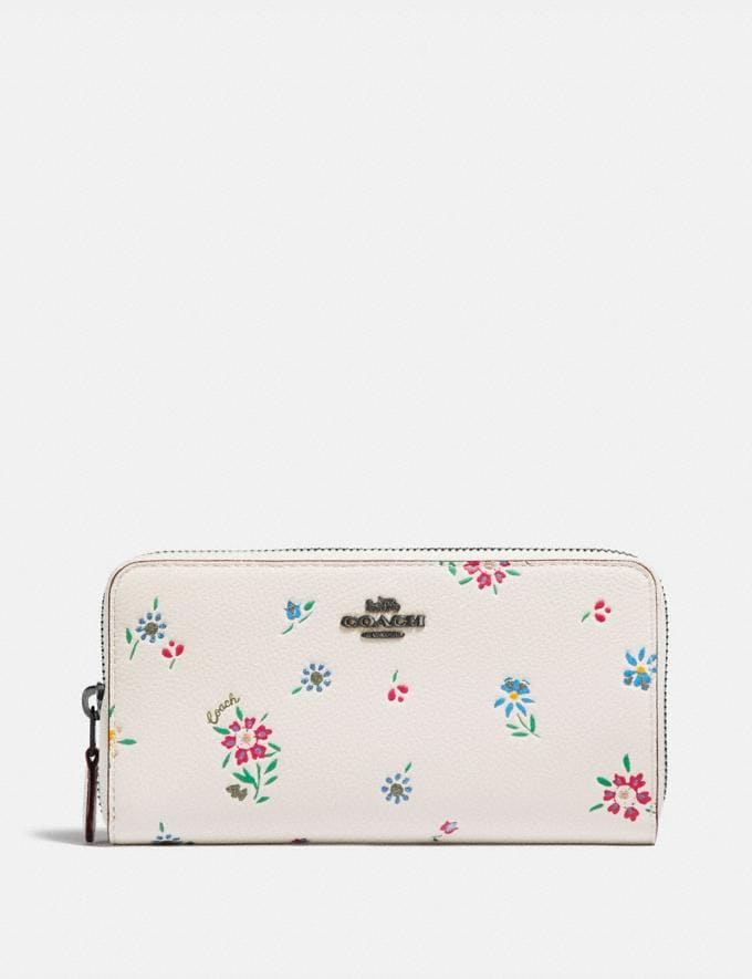 Coach Medium Zip Around Wallet With Wildflower Print Pewter/Chalk New Women's New Arrivals Wallets & Wristlets