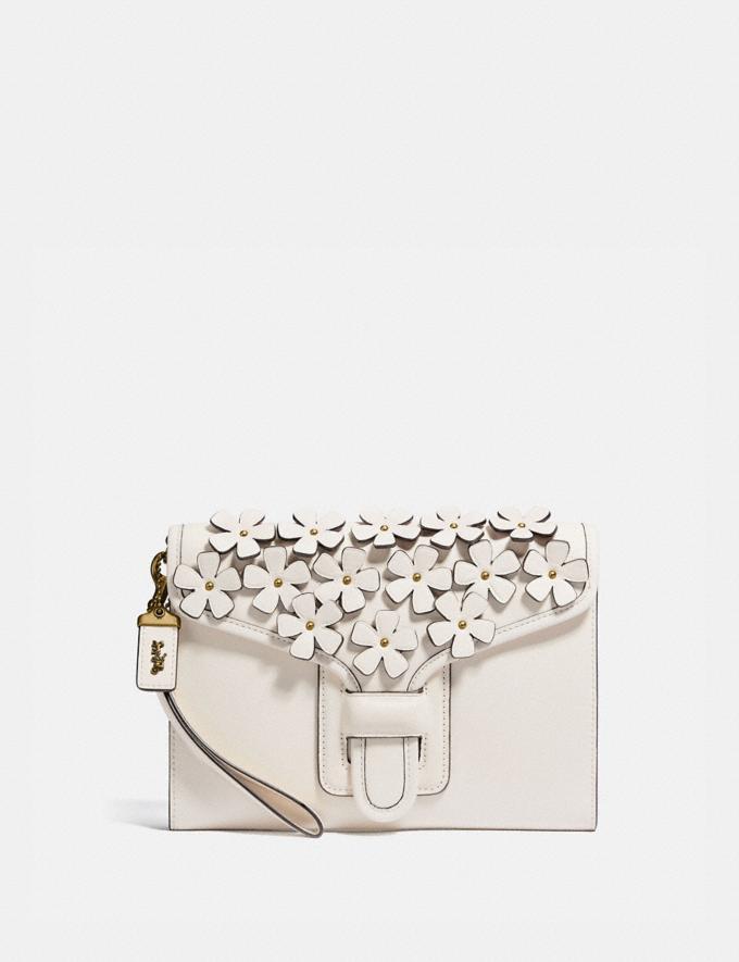 Coach Courier Wristlet With Floral Applique Brass/Chalk New Women's New Arrivals Wallets & Wristlets