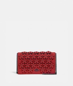 CALLIE FOLDOVER CHAIN CLUTCH WITH FLORAL APPLIQUE