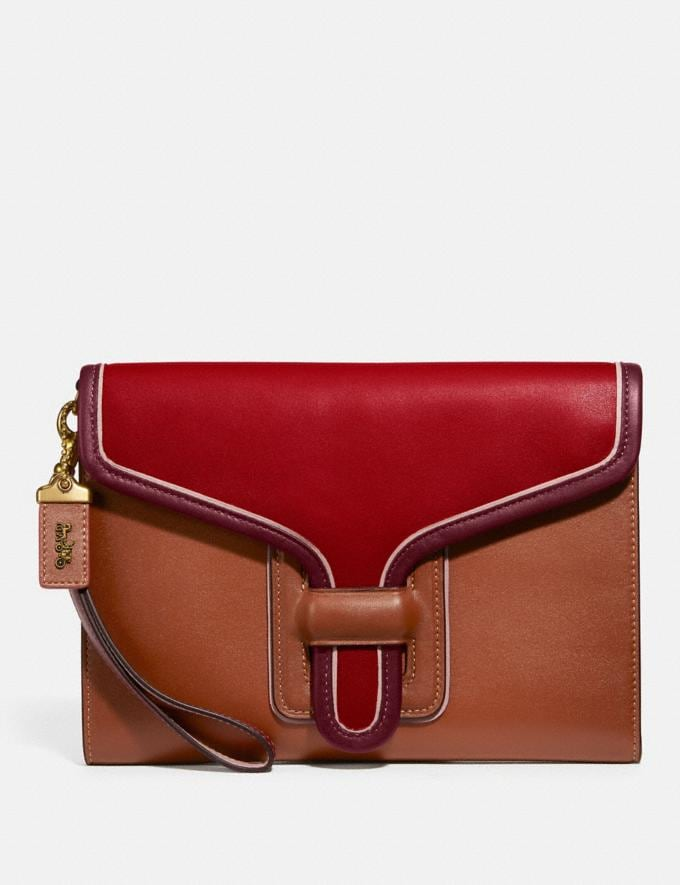 Coach Courier Wristlet in Colorblock Brass/Red Apple Multi Women Small Leather Goods Wristlets