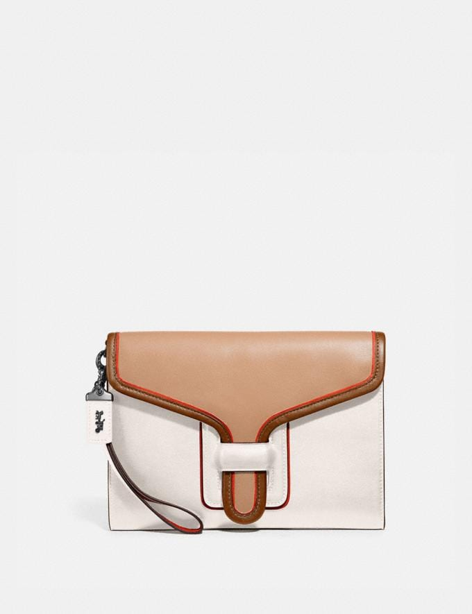 Coach Courier Wristlet in Colorblock Pewter/Chalk Multi Mujer Marroquinería Bolsos pouch