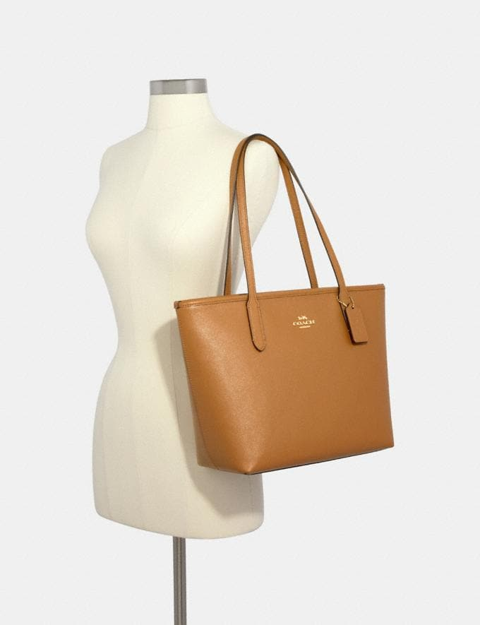 Coach Zip Top Tote Im/Light Saddle  Alternate View 2