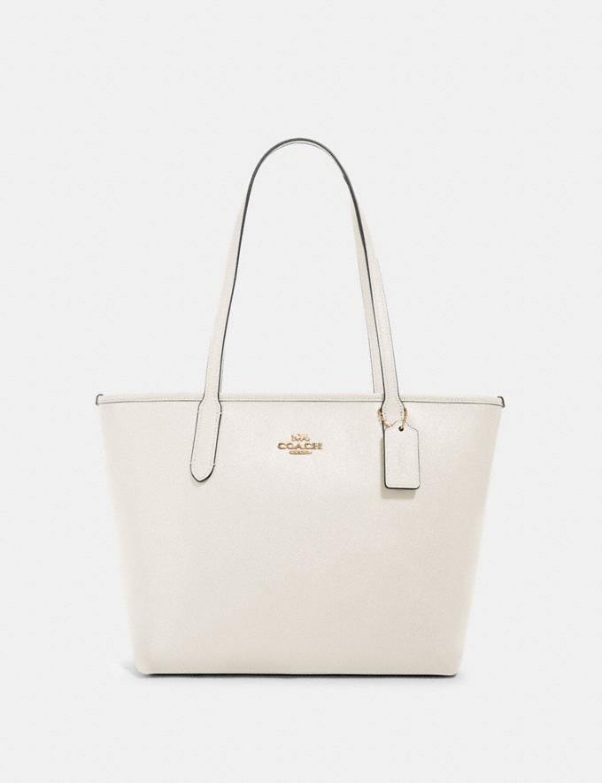 Coach Zip Top Tote Im/Chalk