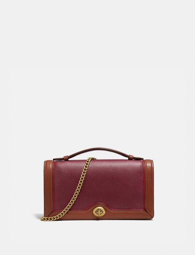 Coach Riley Chain Clutch Brass/Light Maroon Multi New Women's New Arrivals Bags